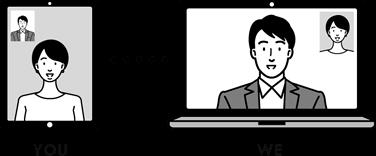 イラスト:タブレット、デスクトップPC 、人物